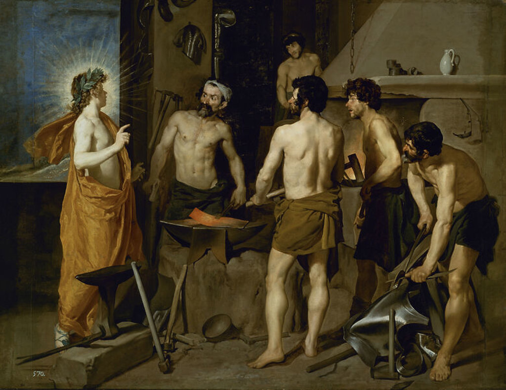 Stock Photo: 4409-3814 Spanish school. Vulcan's forge. La Fragua de Vulcano. 1630. Oil on canvas (2.23 x 2.90). Madrid, Prado museum. Author: VELAZQUEZ, DIEGO. Location: MUSEO DEL PRADO-PINTURA, MADRID, SPAIN.