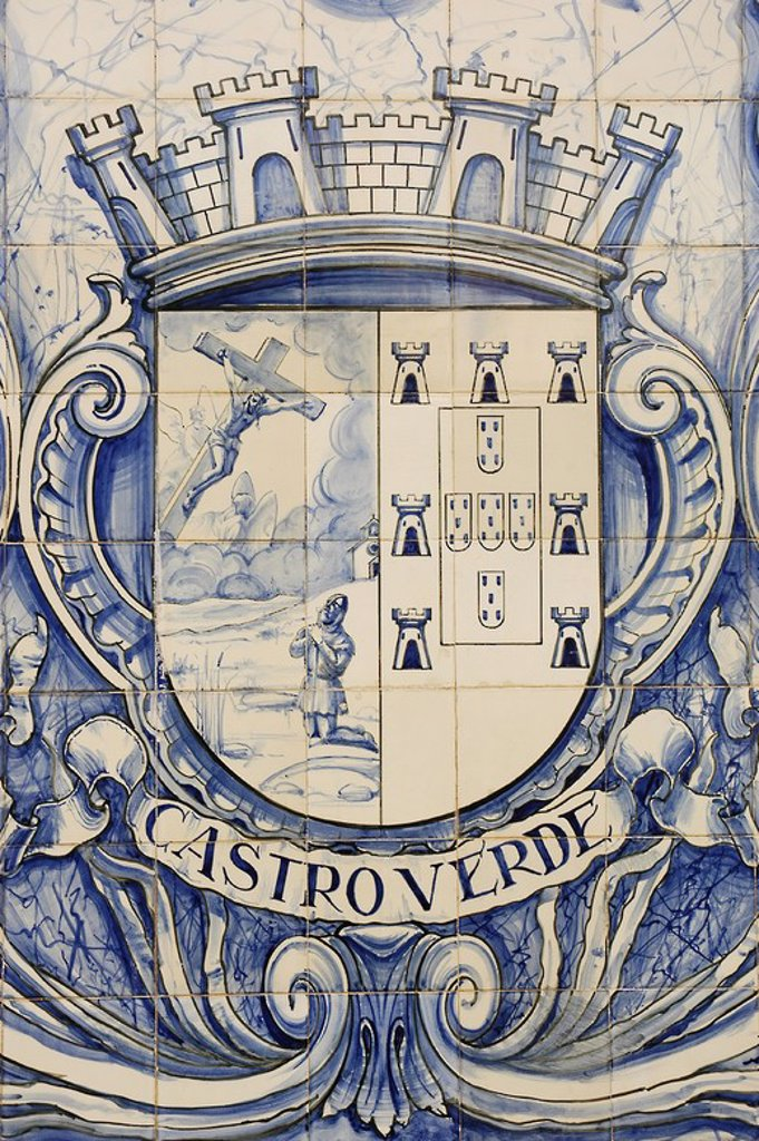 Shield tile depicting the vision  of Afonso Henriques (1110-1185)  in which Jesus assured him victory in the Battle of Ourique (July 25, 1139). The little shields represent the five Moorish kings defeated in battle. Castro Verde. Alentejo. Portugal. : Stock Photo
