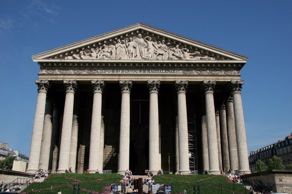 Neoclassical Art. Church of Madeleine (L'Esglese Madeleine).  Built in 1806 as a monument to Napoleon's armies. Later consegrated as a catholic church. Paris. France. Europe. : Stock Photo