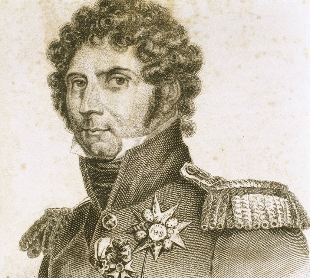 Charles XIV John of Sweden (1764-1844). French soldier named Jean Baptiste Bernadotte, afterwards King of Sweden and Norway (1818-1844). Founder of the current ruling dynasty in Sweden. Engraving. : Stock Photo
