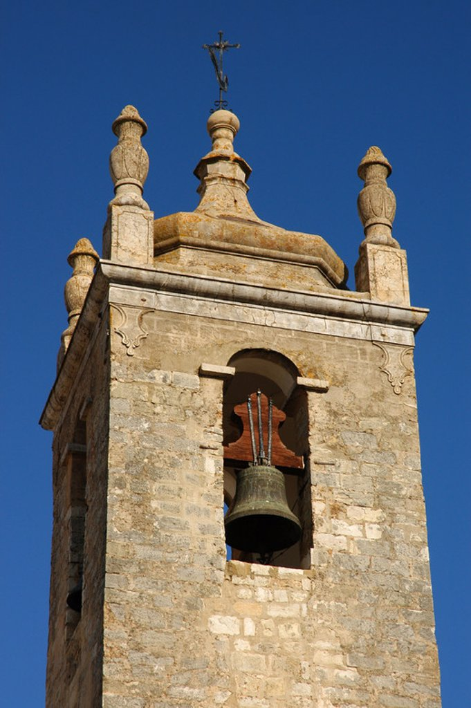 Portugal. Loule. Bell tower of Saint Clement church (13th century). Algarve. : Stock Photo