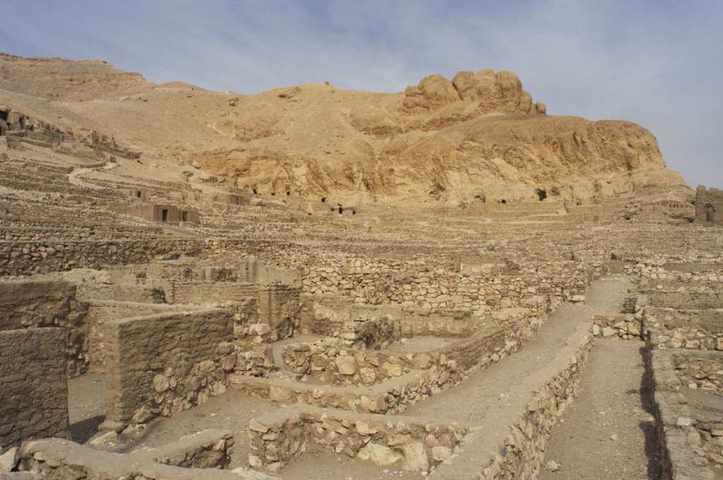 Stock Photo: 4409-38542 Valley of the Artisans. Ruins of Set Maat's settlement, home to the artisans who worked on the tombs in the Valley of the Kings during the 18th to 20th dynasties. New Kingdom. Deir el-Medina. Egypt.