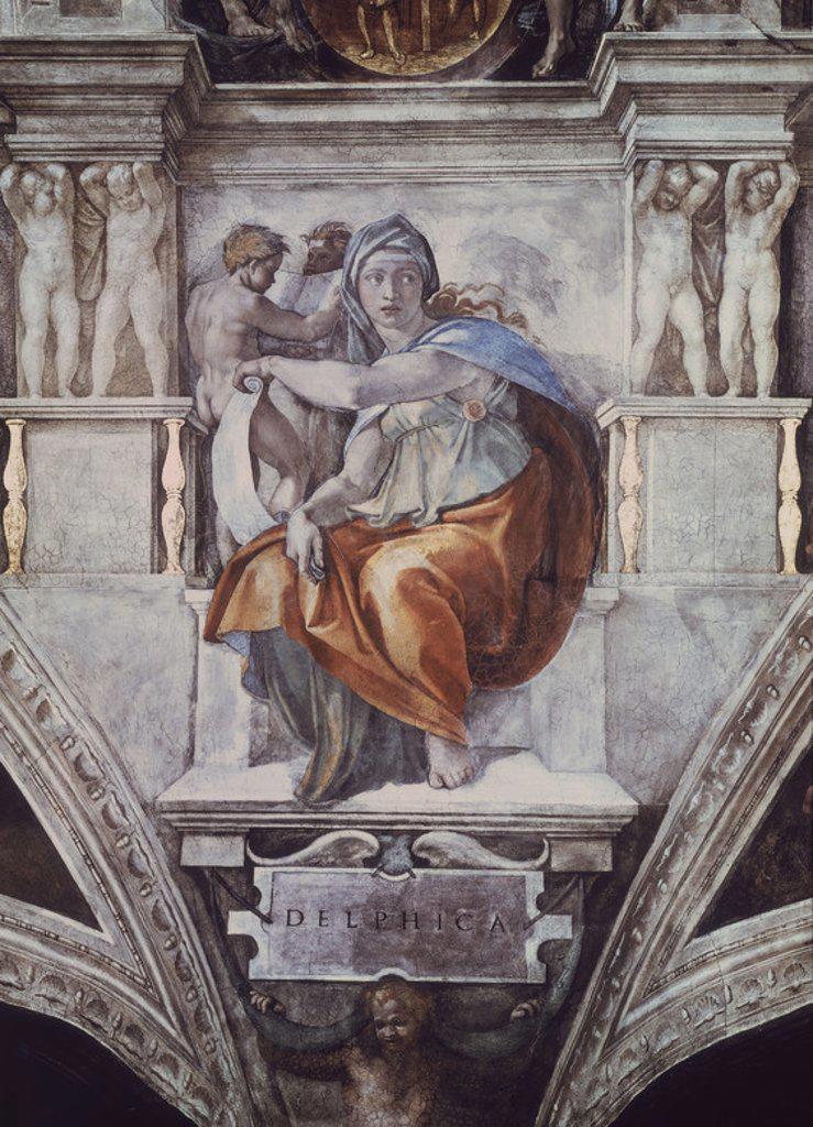 LA SIBILA DELPHICA ANTES DE LA RESTAURACION - SIGLO XVI - RENACIMIENTO ITALIANO. Author: BUONARROTI, MICHELANGELO. Location: MUSEOS VATICANOS-CAPILLA SIXTINA, VATICANO. : Stock Photo