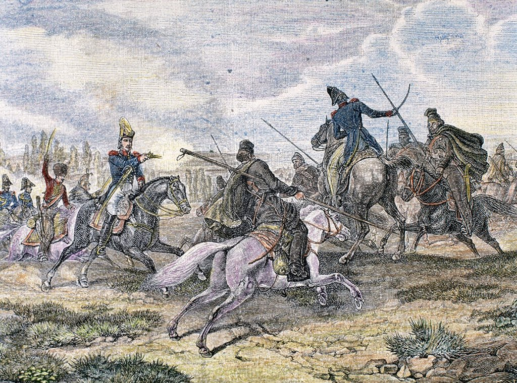 History of the Napoleonic Empire (XVIII century). Napoleonic Wars.  Fightt between french troops and cosacks on the Russian front. Colored engraving. : Stock Photo