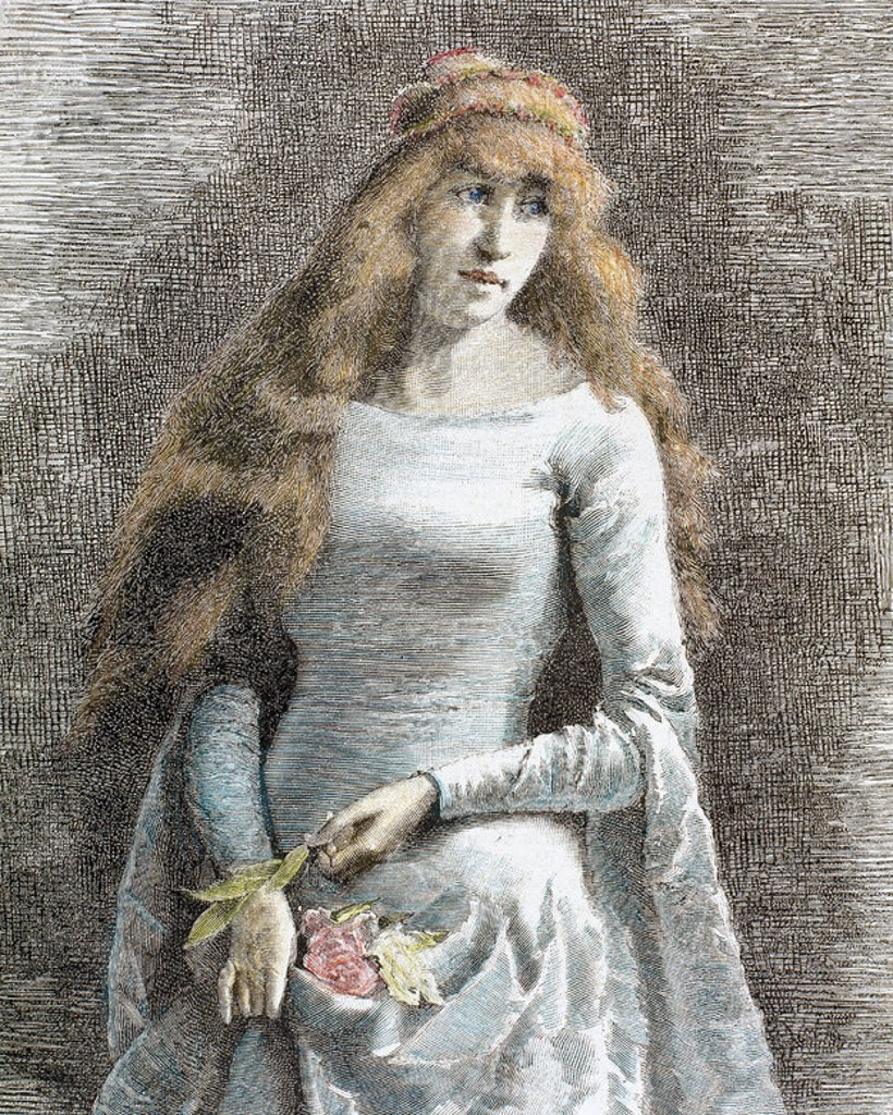 "Stock Photo: 4409-38561 Young lady. Medieval age. Engraving by Centeneri (1885). ""La Ilustracion Iberica""."
