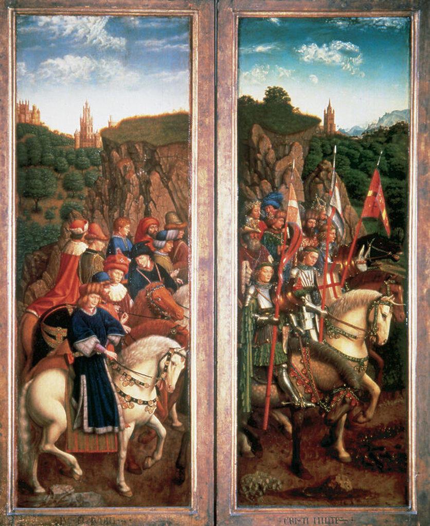 Stock Photo: 4409-38603 ARTE GOTICO. BELGICA. S. XV. LA ADORACION DEL CORDERO MISTICO. Políptico de San Bavón de Gante. Iniciado por Hubert van Eyck (m.1426) y terminado en 1432 por Jan van Eyck (m.1441). PANEL con la representación de los JUECES INTEGROS. Catedral de Gante.