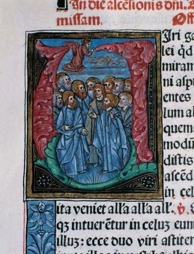 Missal. Initial detail. Ascension of Christ before the apostles. Latin. Codex 9. 1524. Printing Rosenbach (Barcelona, Spain). Chapter Archive of Tortosa. Catalonia. Spain. : Stock Photo