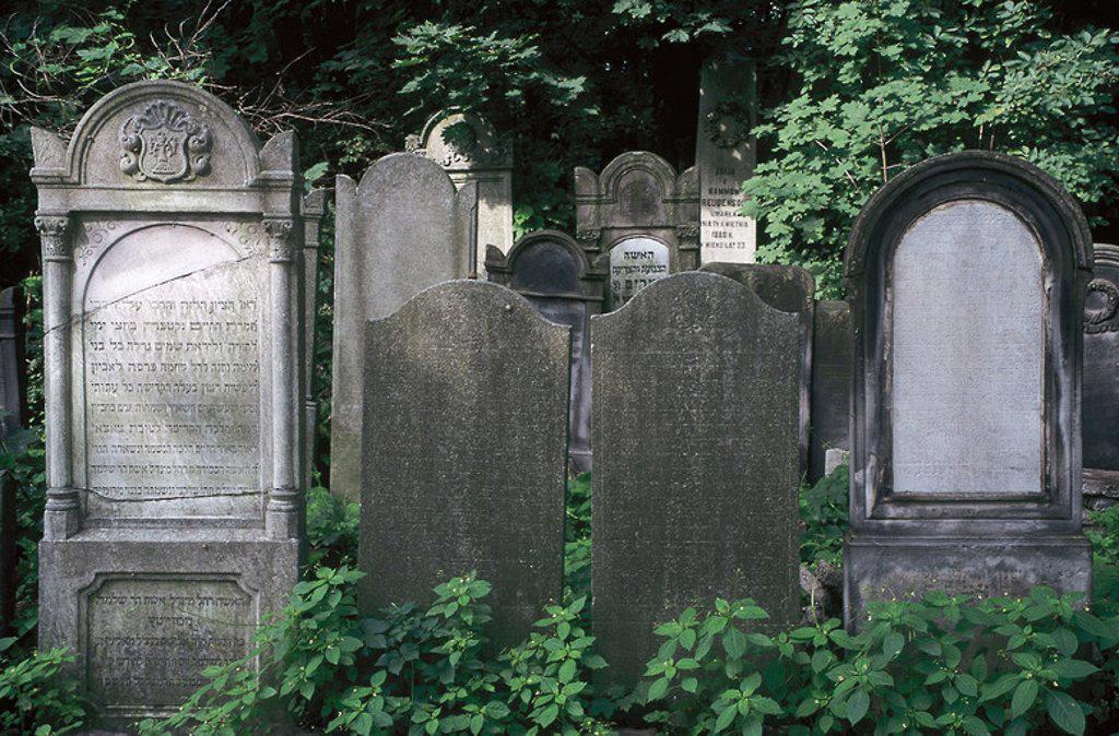 Stock Photo: 4409-38638 CEMENTERIO JUDIO. Fundado en 1806. Detalle de algunas lápidas. VARSOVIA. Polonia.