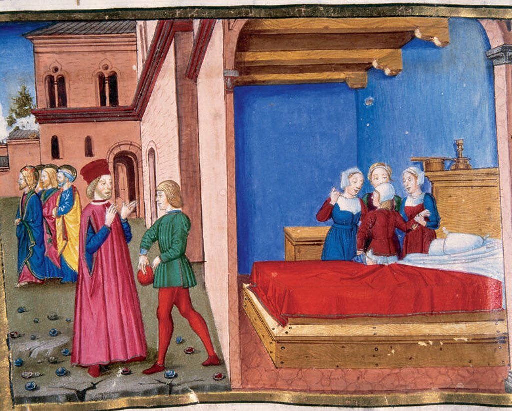 Jesus tells the King's officer to come back home where he will find his son cured. Codex of Predis (1476). Royal Library. Turin. Italy. : Stock Photo