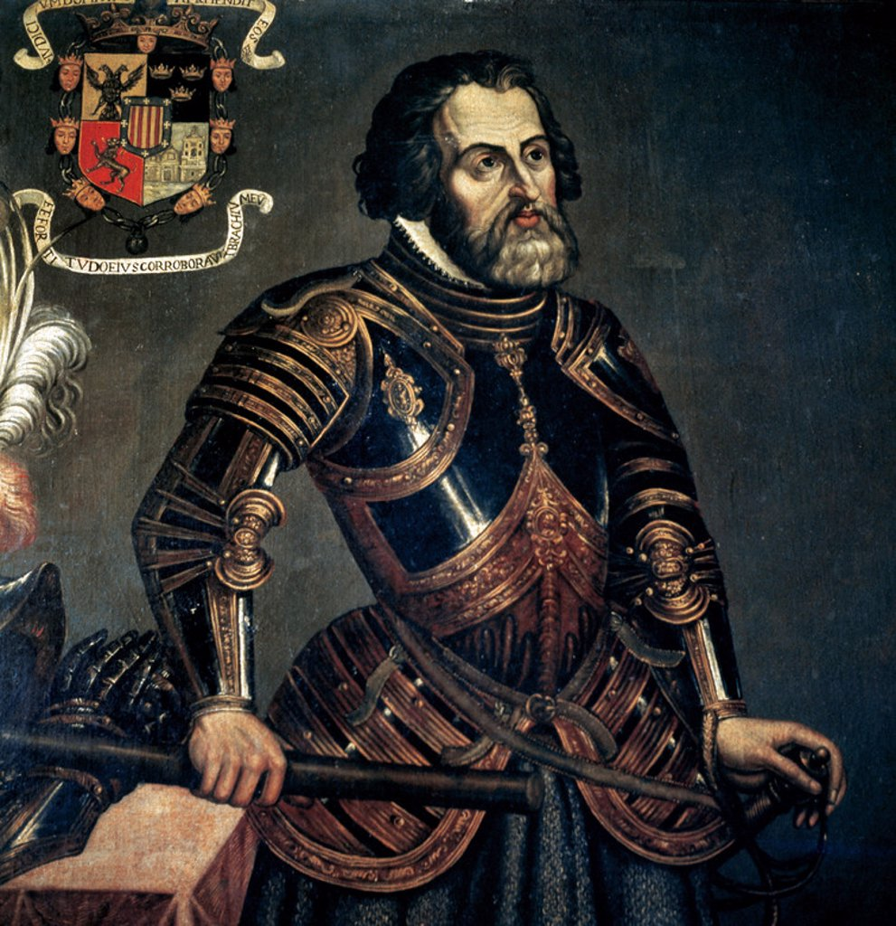 Stock Photo: 4409-38679 Hernan Cortes, 1st Marquis of the Valley of Oaxaca (1485Ð1547). Spanish conqueror. Anonymus portrait.