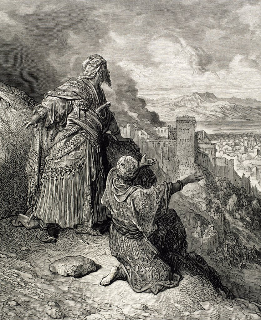 """Stock Photo: 4409-38706 BOABDIL. Ultimo rey de la Granada nazarí (1482-1492). """"EL ULTIMO REY MORO ABANDONA GRANADA"""". S. XV. Grabado de Gustave Doré. S. XIX."""
