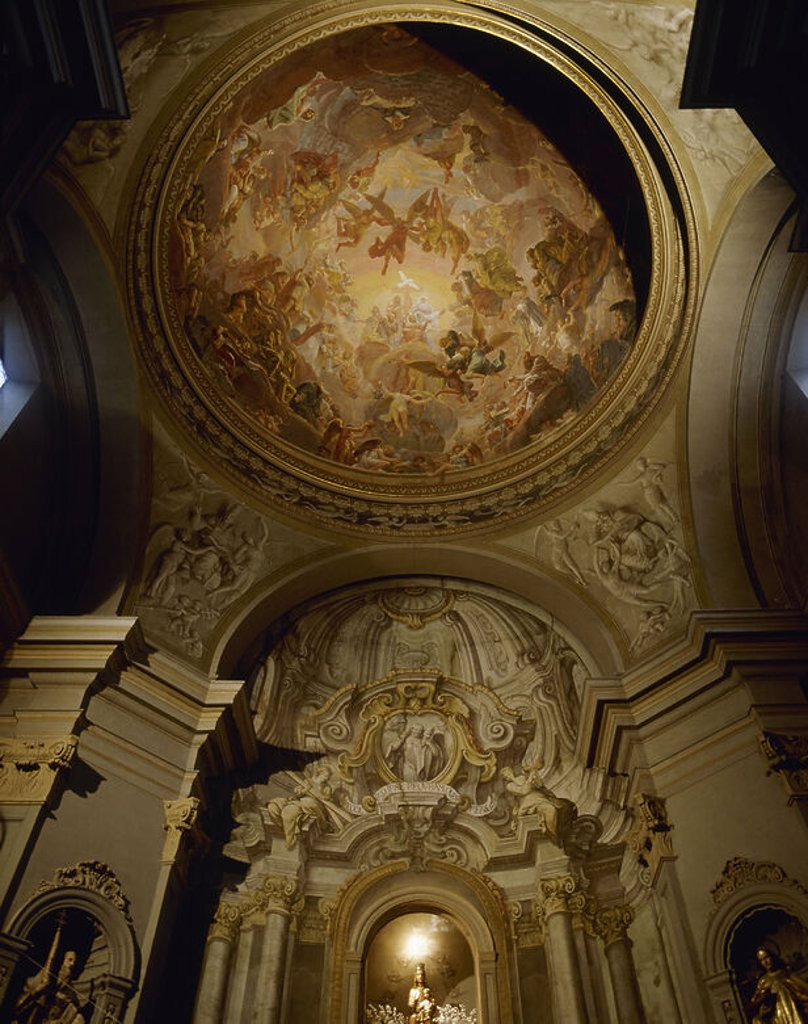Spain. Barcelona. Saint Peter Nolasco Church. Interior. Frescoes at the dome depicting The Glorification of the Virgin Mary. By Joseph Flaugier. 18th century. : Stock Photo