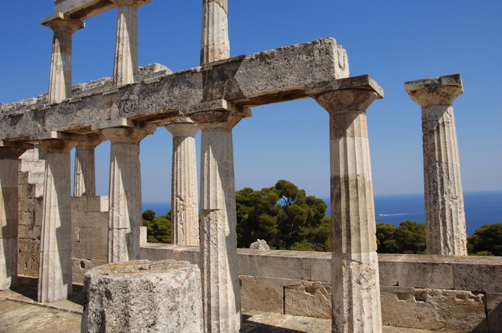 Stock Photo: 4409-38735 Greece. Aegina Island. Temple of Aphaia (5th-6th centuries B.C.). Doric columns.