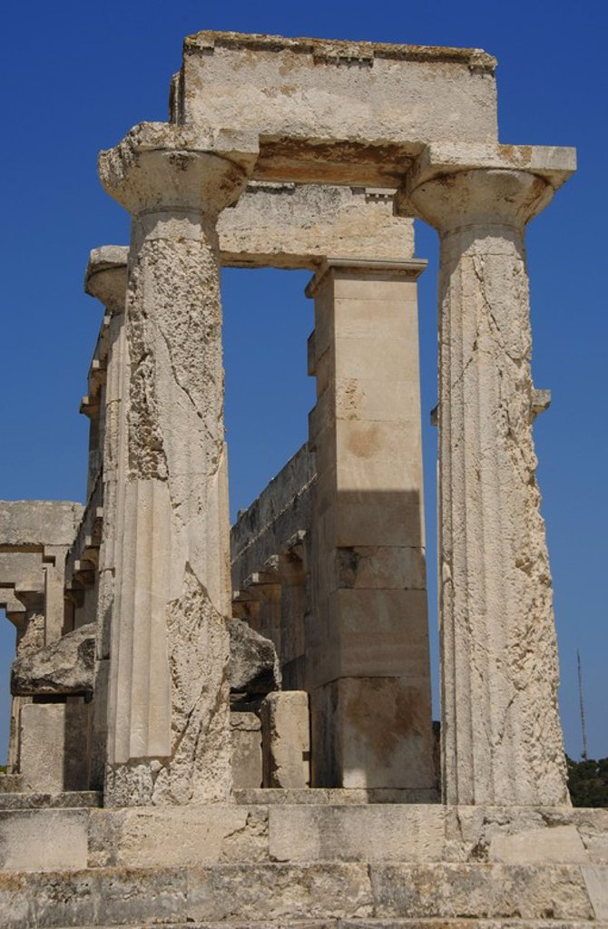 Greece. Aegina Island. Temple of Aphaia (5th-6th centuries B.C.). Doric columns. : Stock Photo