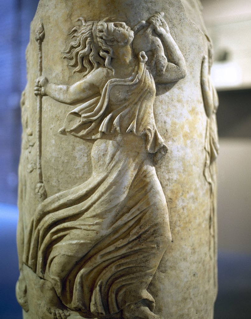 Dancing Maenad. Circular Altar. Pulpitum of the Italica Theater. 1st century. Archaeological Museum. Seville. Spain. : Stock Photo