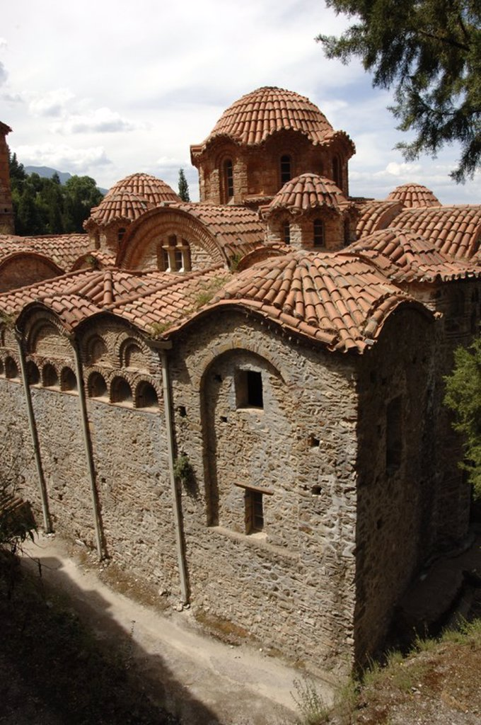 Stock Photo: 4409-38909 Greece. Mystras. Holy Monastery of Vrontochion. Church of the Panayia Hodegetria, also known as Aphentiko. Founded in 1310. View.