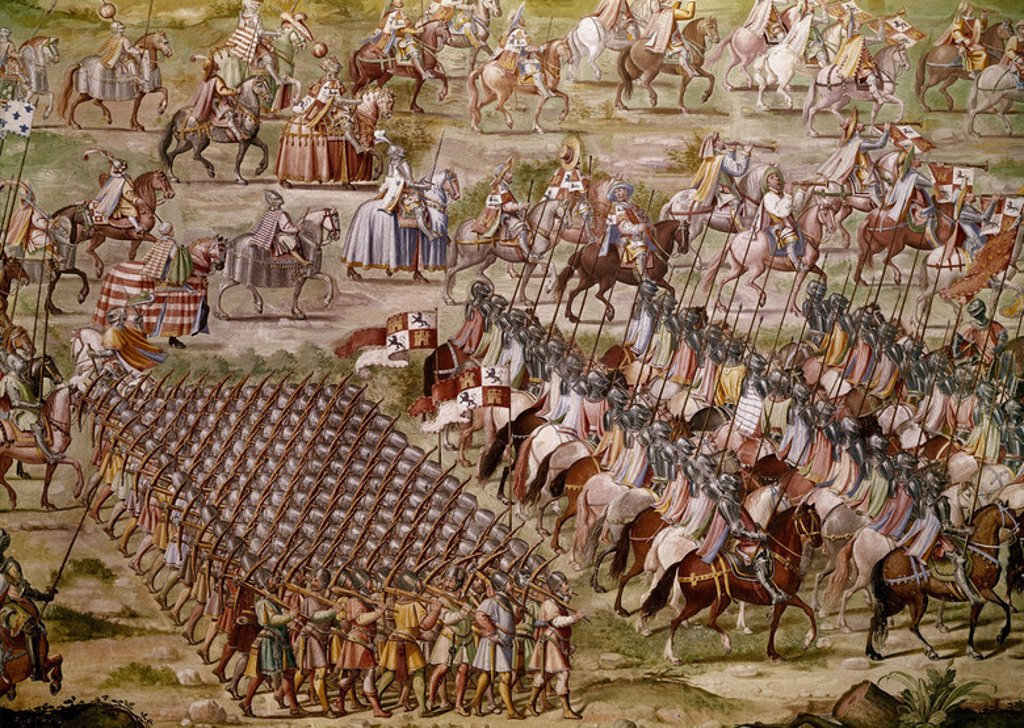 Stock Photo: 4409-3891 BATALLA DE HIGUERUELA - VICTORIA DE JUAN II DE CASTILLA SOBRE LOS NAZARIES EN GRANADA EL 1 DE JULIO DE 1431-DETALLE DE LOS BALLESTEROS - 1591. Author: GRANELLO-TAVARON-CASTELLO Y CAMBIASSO. Location: MONASTERIO-PINTURA, SAN LORENZO DEL ESCORIAL, MADRID, SPAIN.