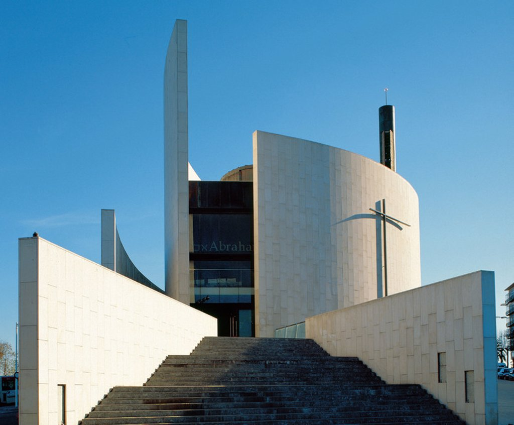 Spain. Catalonia. Barcelona. Saint Abraham church built by Jospeh Benedito. Inaugurated in June 1992 to host the celebrations of different religions during the Olympic Games. : Stock Photo