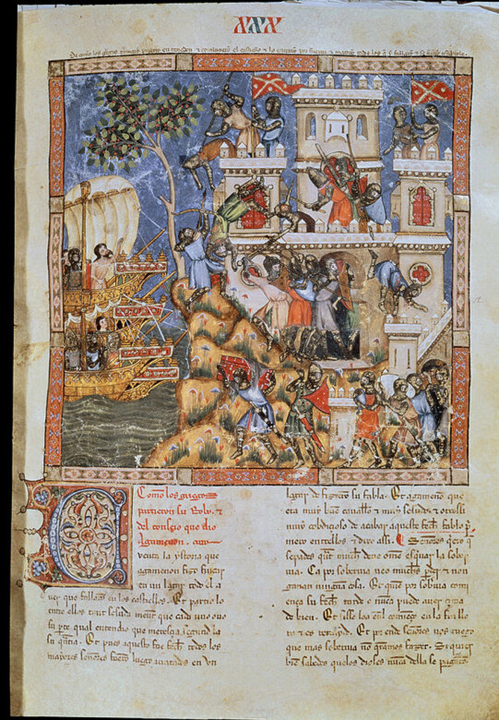 Stock Photo: 4409-3902 Trojan chronicle (Folio 30). Defense of a castle besieged by land and sea. Ca. 1350. Library of the Escorial monastery. Author: GONZALEZ, NICOLAS. Location: MONASTERIO-BIBLIOTECA-COLECCION, SAN LORENZO DEL ESCORIAL, MADRID, SPAIN.