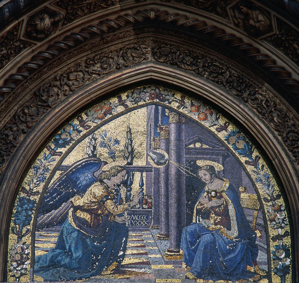Stock Photo: 4409-39096 Italy. Florence Cathedral. Mandorla Gate. 15th century. Mosaic at the lunette depicting Annunciation, by Domenico and Davide Ghirlandaio.