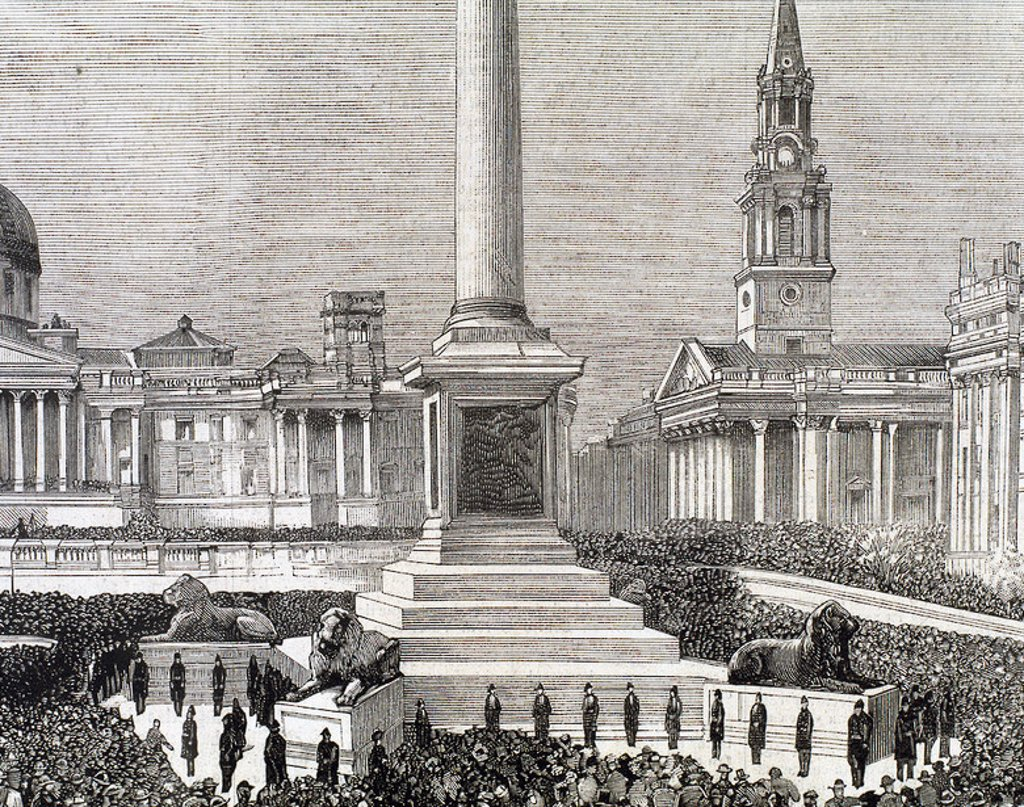 "Stock Photo: 4409-39103 Meeting of workers unemployed in Trafalgar Square. London. United Kingdom. Engraving by Rico in ""The Spanish and American Illustration,"" 1886."