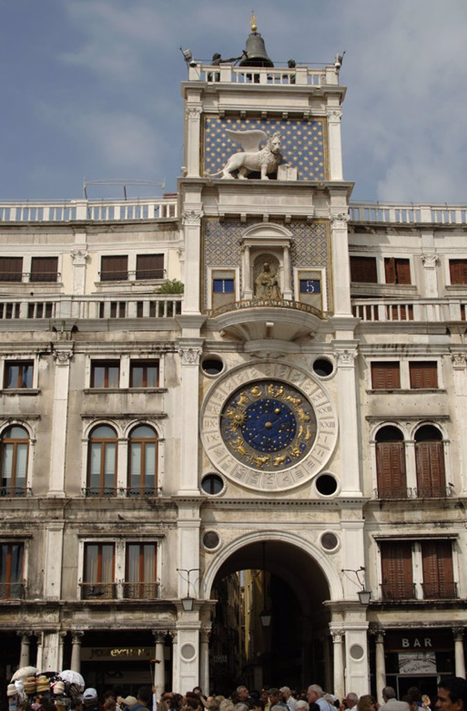 Stock Photo: 4409-39116 Italy. Venice. The Clocktower with astronomical clock. 15th century. St. Mark's square.