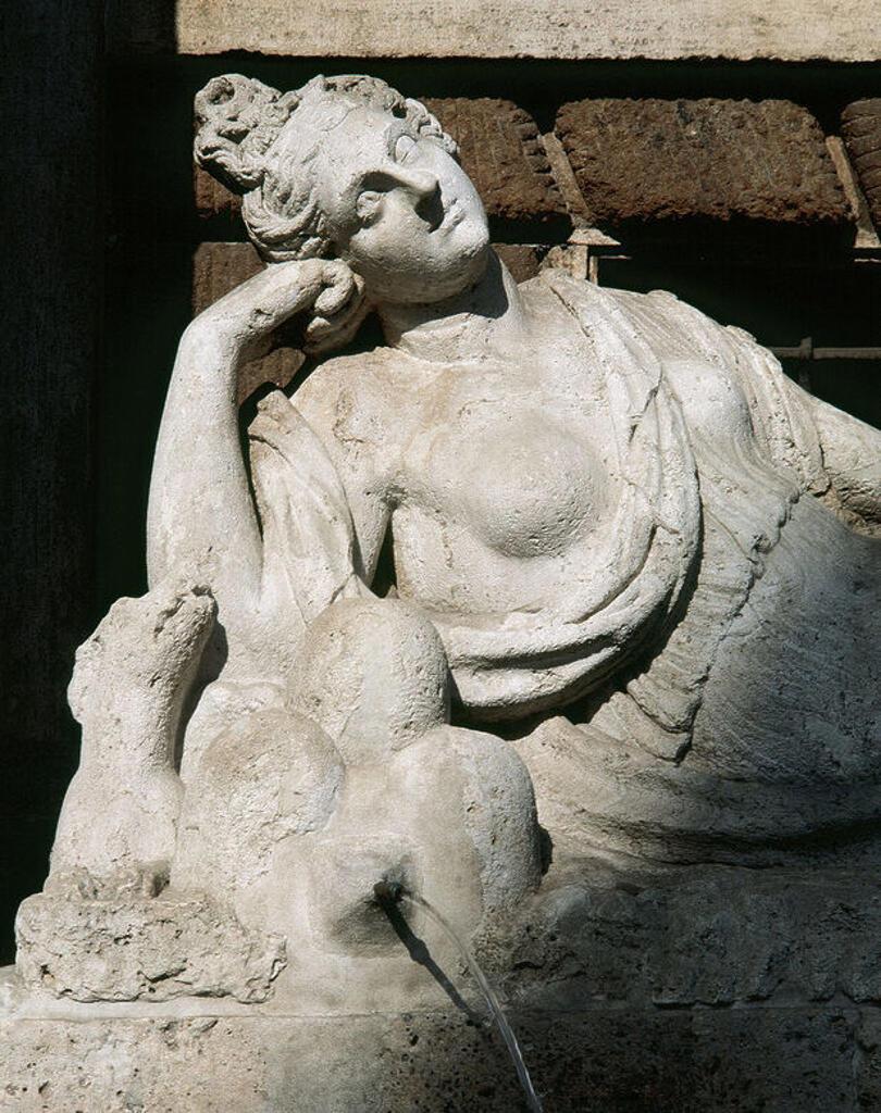 Italy. Rome. Four Fountains. Fountain of Goddess Diana. 16th century. Designed by Pietro da Cortona. Detail. : Stock Photo