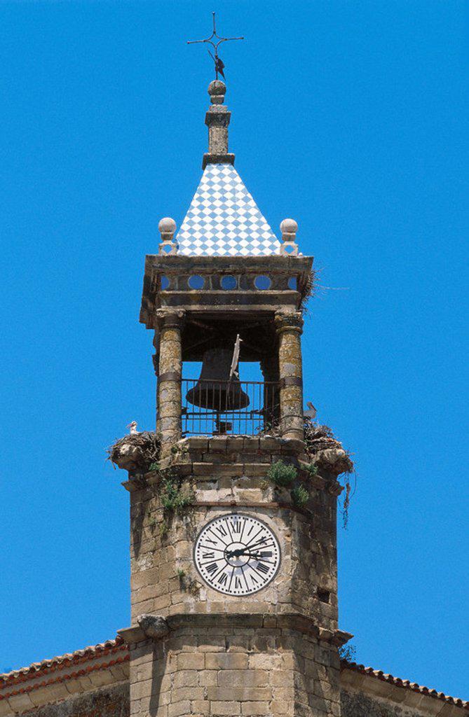 Stock Photo: 4409-39148 TORRE DEL RELOJ de la IGLESIA DE SAN MARTIN, erigida en el s. XIV y ampliada en el XVI por Sancho de Cabrera. TRUJILLO. Provincia de Cáceres. Extremadura. España.