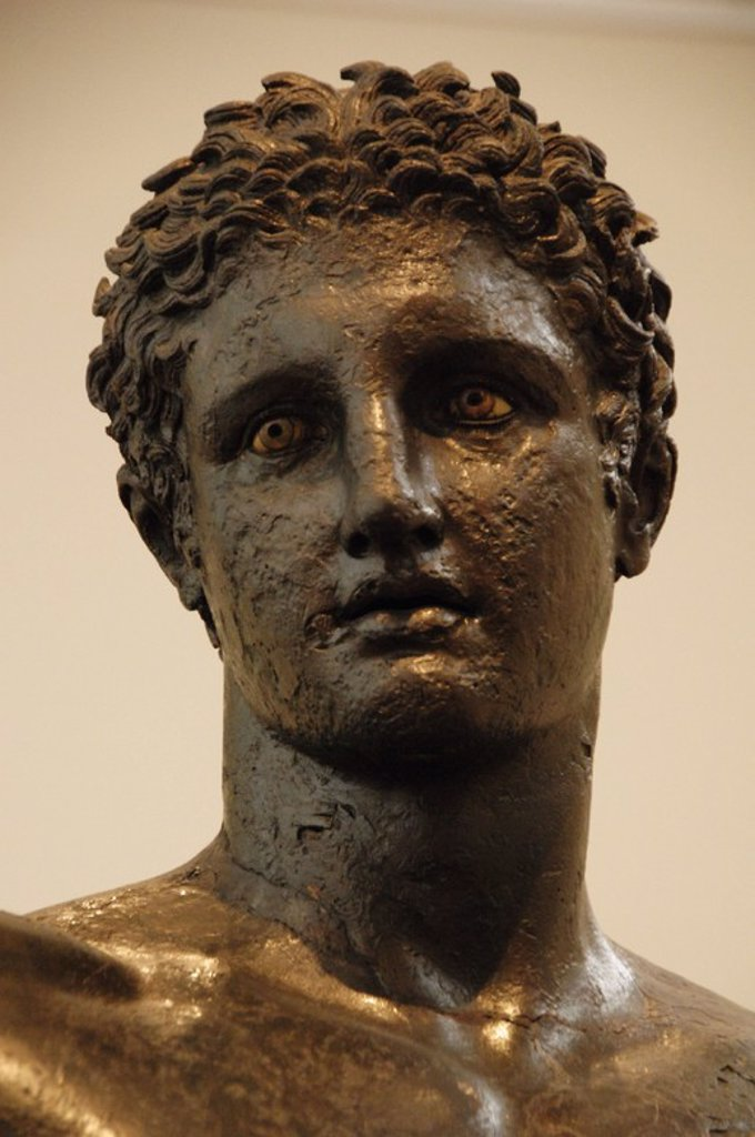 Greek Art. Greece. 4th century BCE. Bronze statue of a young identified as Perseus with Medusa's head hanging. However, probably represents Paris and would subject the apple of discord. Attributed to the sculptor Euphranor of Corinth to 340-330 BC. Bust. National Archaeological Museum. Athens. : Stock Photo