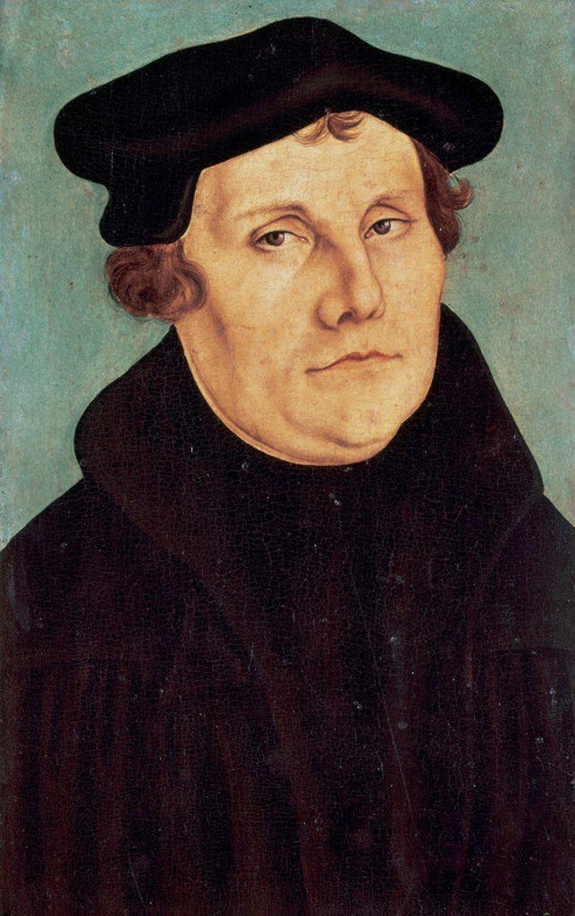 MARTIN LUTERO (1483-1546). Reformador religioso alemán. RETRATO DE LUTERO, obra de Lucas CRANACH. Galería Uffizi. Florencia. Italia. : Stock Photo