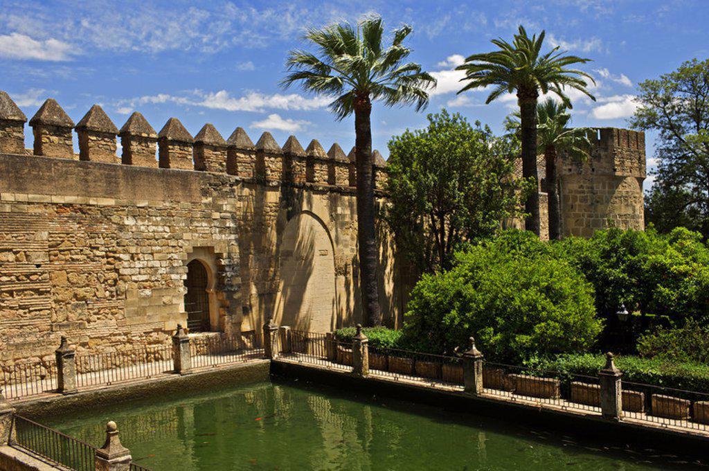 Moorish style gardens of The Christian Kings Alcazar. 14th century. Cordoba. Andalusia. Spain. : Stock Photo