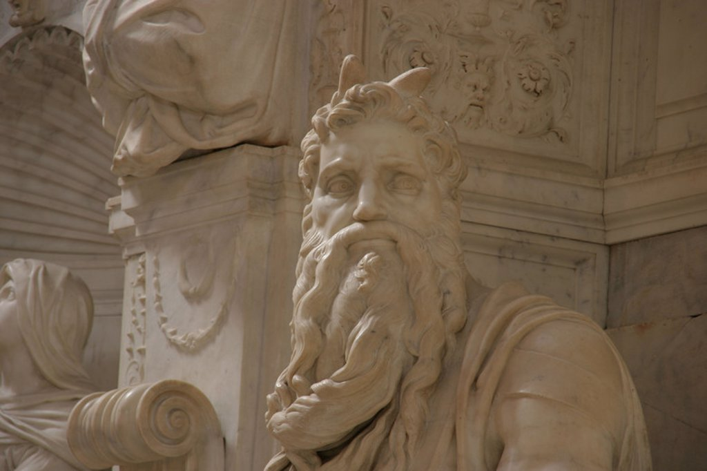 Stock Photo: 4409-39306 Moses. Marble sculpture by Michelangelo Buonarroti (1513-1515). Tomb of Pope Julius II. Church of Saint Pietro in Vincoli. Rome. Italy.