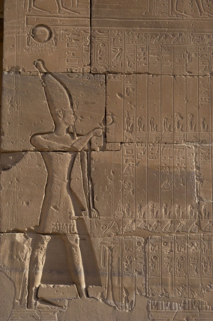 Stock Photo: 4409-39319 Relief depicting a Pharaoh making libations to the gods. Ramesseum. 13th century. Nineteen dynasty. New Kingdom. Necropolis of Thebes. Valley of the kings. Egypt.