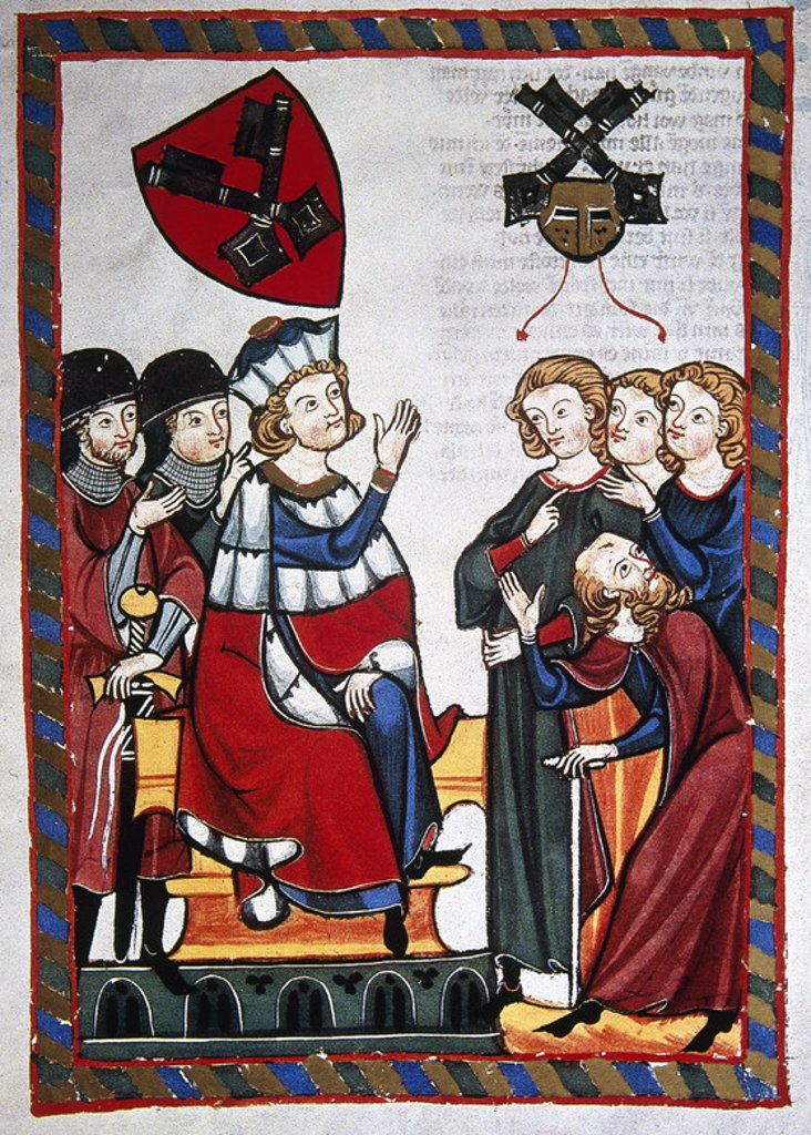 Stock Photo: 4409-39384 Der Burggraf von Regensburg presides over a trial. Codex Manesse (ca.1300) by Rudiger Manesse and his son Johannes. Miniature. Folio 318r. University of  Heidelberg. Library. Germany.