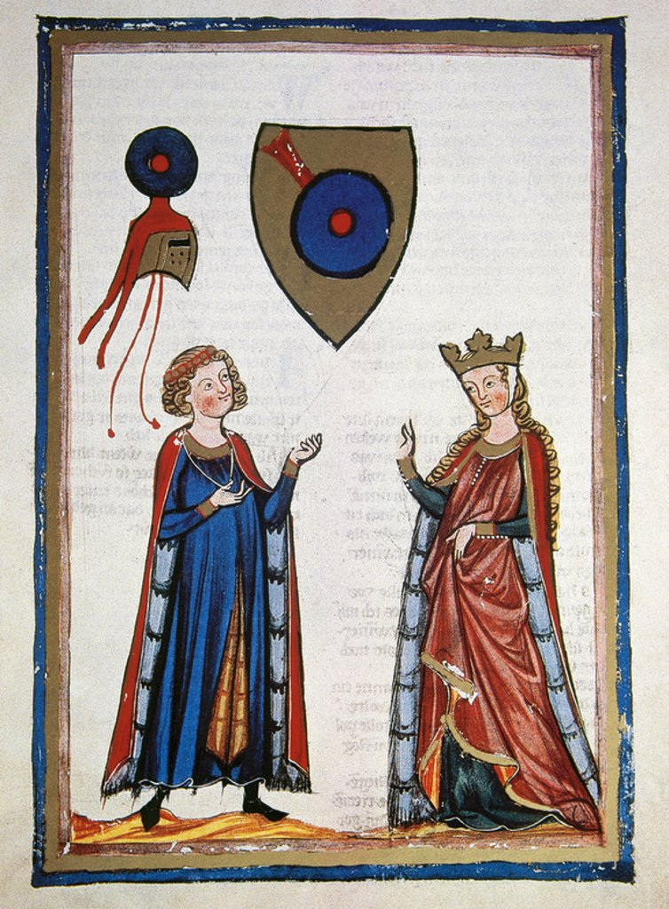 Stock Photo: 4409-39473 Austrian poet Der Von Ku¨renberg (mid 12th century), talking to a lady. Fol. 63r. Codex Manesse (ca.1300) by Rudiger Manesse and his son Johannes. University of  Heidelberg. Library. Germany.