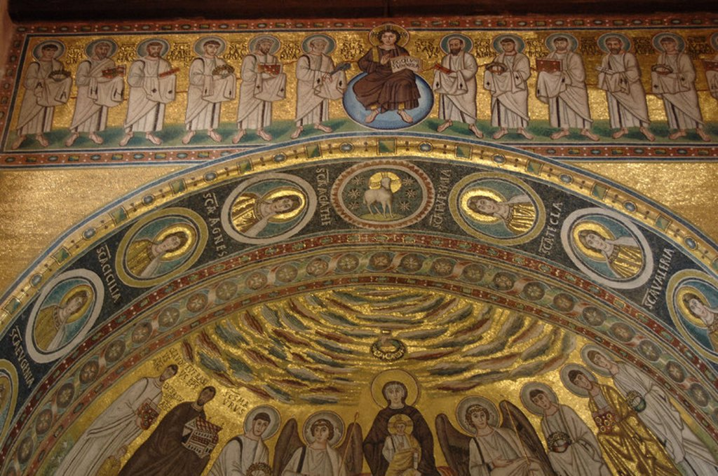 Stock Photo: 4409-39492 BYZANTINE ART. CROATIA. Euphrasian Basilica. Byzantine church built in the sixth century. World Heritage Site by UNESCO in 1997. Mosaic with Christ and the twelve Apostles and Virgin and Child flanked by angels. POREC. Istrian Peninsula.