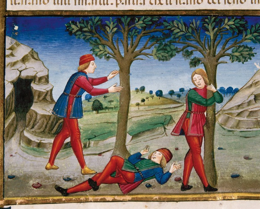 Stock Photo: 4409-39624 The End of the World. Men will not put up with standing.Codex of Predis (1476). Royal Library. Turin. Italy.