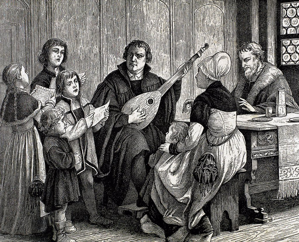 Martin Luther, (Eisleben, 1483, Eisleben, 1546). German reformer. Doctor of Theology and Augustinian priest. In 1517, outlined the main thesis of Lutheranism in Wittenberg. He was excommunicated in 1520. Luther played the lute at the home of Ursula Cotta. Engraving by A. Closs. : Stock Photo
