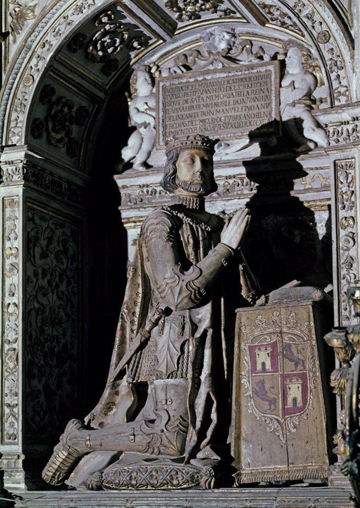 Stock Photo: 4409-3987 CAPILLA DE LOS REYES NUEVOS DE LA CATEDRAL DE TOLEDO - JUAN I DE CASTILLA (1358-1390) - SIGLO XVI. Author: COVARRUBIAS ALONSO. Location: CATEDRAL-INTERIOR, TOLEDO, SPAIN.