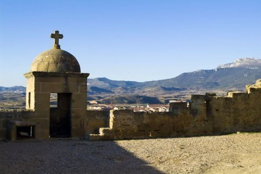 Spain. San Vicente de la Sonsierra. Saint Vincent Castle built between 1170 and 1172 by Ferrant Moro, following the instructions of Sancho VI of Navarre, called the Wise. : Stock Photo