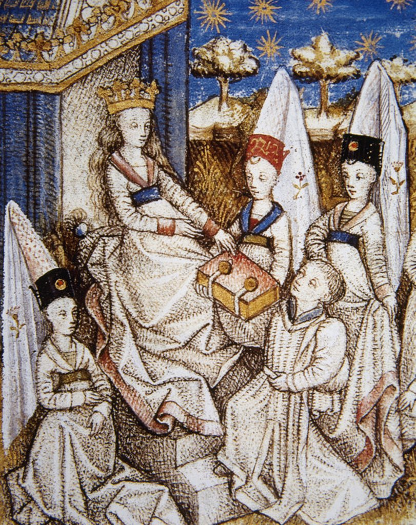 "Stock Photo: 4409-39994 Young man offering the manuscript to the Countess of Hauteville. 15th century miniature of ""Livre des cleres et nobles femmes."" Chateau de Chantilly. France."