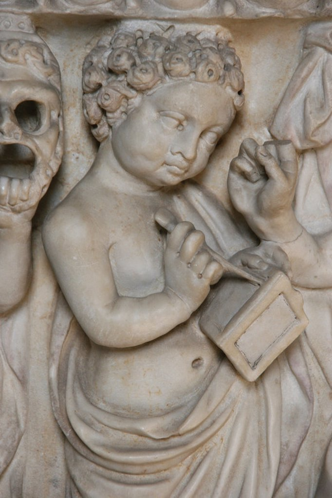 Stock Photo: 4409-40002 Roman Art. Relief of sarcophagus. Child writing on wax tablet with a Styli. Vatican Museum. City of the Vatican.