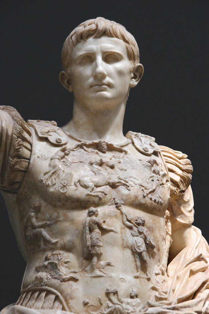 Stock Photo: 4409-40111 Augustus (61 BC-14 AD). First roman emperor. Marble statue of Augustus of Prima Porta. (1st century) in the role of commander of the army. Vatican Museums. Vatican City State.