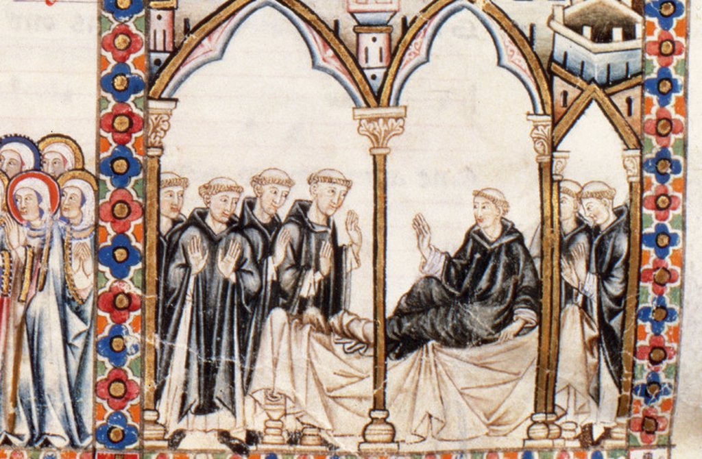 "Stock Photo: 4409-40114 Cantigas de Santa Mari´a (Canticles of Holy Mary). Reign of  Alfonso X of Castile, ""the Wise"" (1221-1284). Group of Dominican monks. Library of El Escorial. Madrid. Spain. National Heritage."