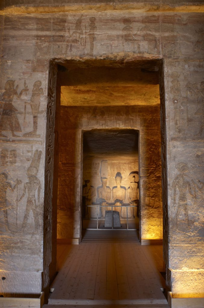 Egyptian art. Great Temple of Ramses II (1290-1224 BC). Holy of Holies, depicting four seated statues: Ra, Ptah, Amun and Ramses II. 19th dynasty. New Kingdom. Abu Simbel. Egypt. : Stock Photo