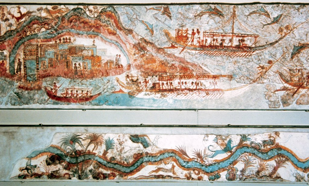 Stock Photo: 4409-40282 Minoan art. Cyclades Islands. Naval expedition. Fresh dated c.1550-1500 B.C. It comes from Akrotiri. Santorini. National Museum of Athens.