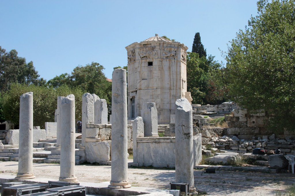 Stock Photo: 4409-40351 Roman Art. Tower of the Winds (Horologion). Octogonal pentelic marble clocktower on the Roman Agora. I was supposedly built by Andronicus of Cyrrhus Around 50 BC. Athens. Central Greece. Attica. Europe.