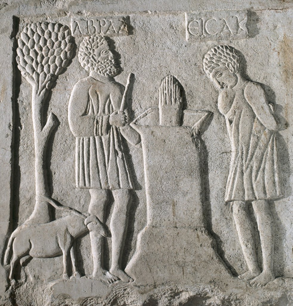 Early Christian art. Relief depicting the sacrifice of Isaac. (V-VI centuries). Church of Santa Cruz. Ecija. Province of Seville. Andalusia. Spain. : Stock Photo