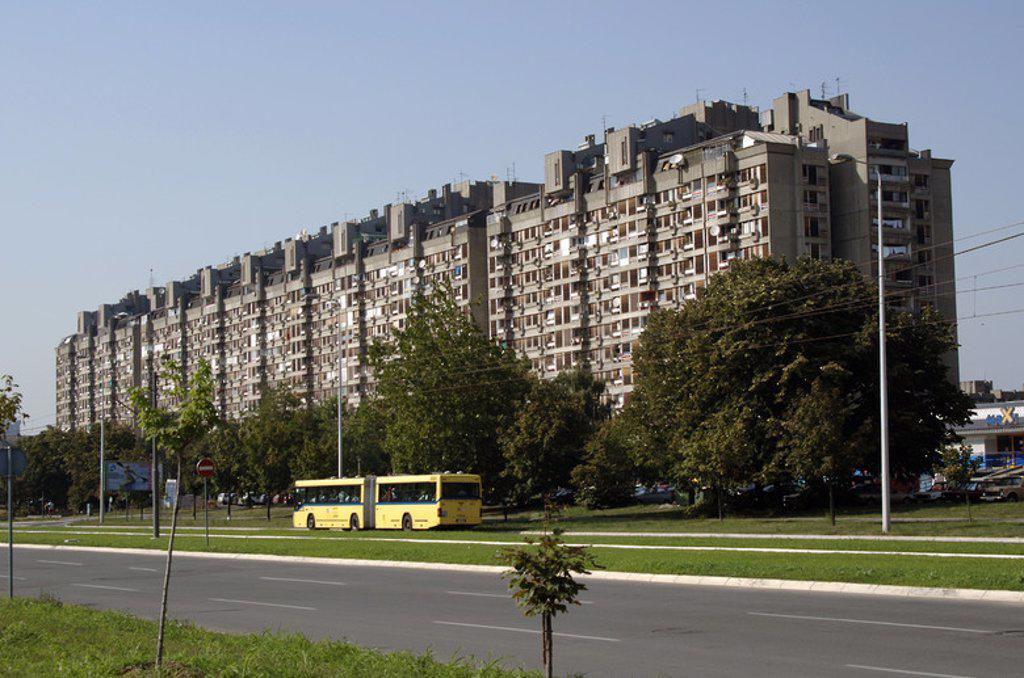 Stock Photo: 4409-40409 Serbia. Belgrade. Comunist style buildings.