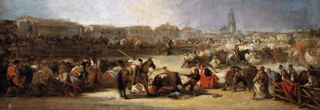 Stock Photo: 4409-40440 Lucas Velazquez, Eugenio (1824-1870). Spanish painter. Bullfight in a Village (c.1860). Museum of Fine Arts. Buenos Aires. Argentina.
